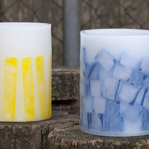 Outdoor lanterns in blue and yellow by Nordic Candle
