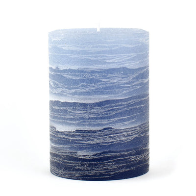 navy pillar candle rustic candle layered from light blue to navy blue available in sizes 3x4 3x6 or 4x6 hand poured artisan candles by Nordic Candle img1