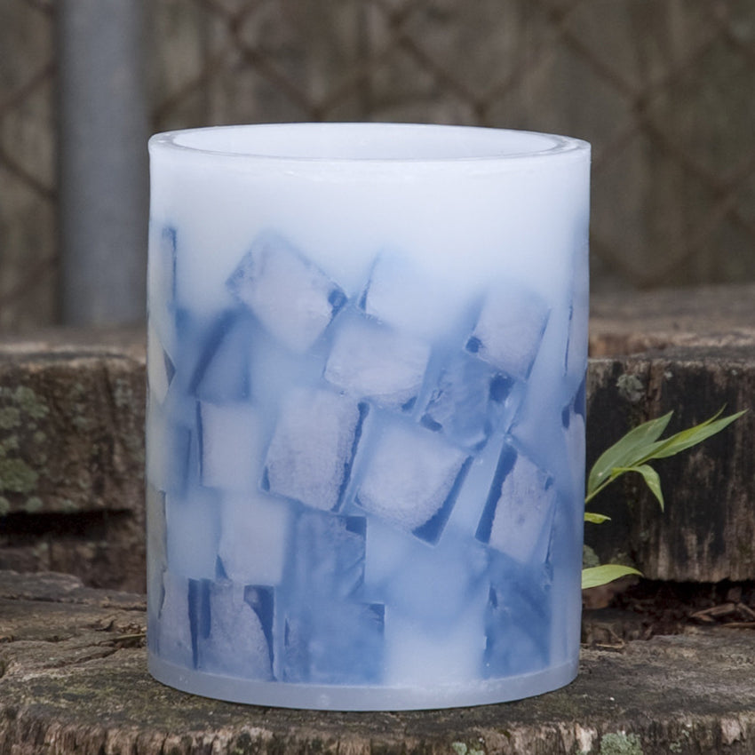 blue lantern with mosaic design by Nordic Candle image1