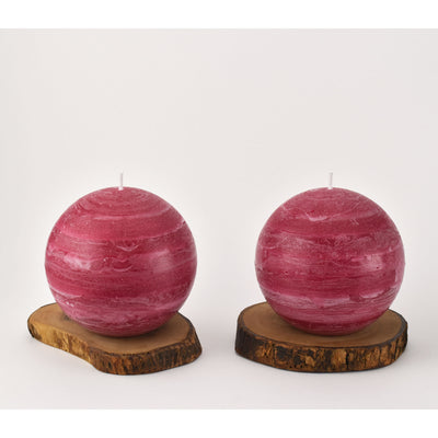 Burgundy Red Ball Candle 4 inch diameter set of two by Nordic Candle Img2