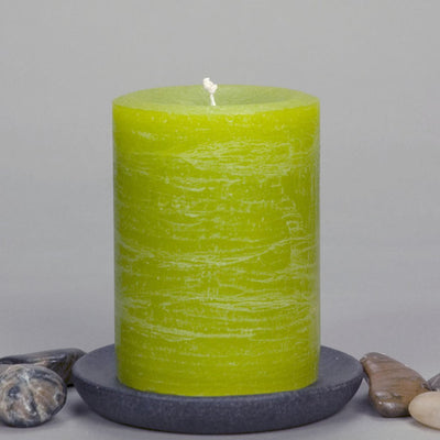 "Lime Green Rustic Pillar Candle 3x4"" - chartreuse -Simple Design by Nordic Candle"