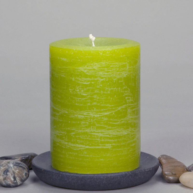 "Lime Green Rustic Pillar Candle 3x4"" and 3x6"" - chartreuse - greenery - by Nordic Candle"