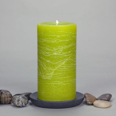 "Lime Green Rustic Pillar Candle 3x6"" - chartreuse -Simple Design by Nordic Candle"