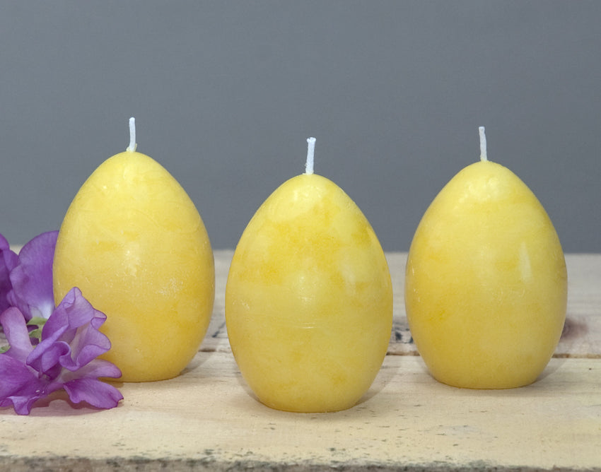 Yellow egg candles for decorating for springtime or Easter set of 3 by Nordic Candle