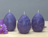 Purple egg candles for decorating for springtime or Easter set of 3 by Nordic Candle