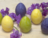 Easter Egg Candles in lime green, yellow and purple by Nordic Candle