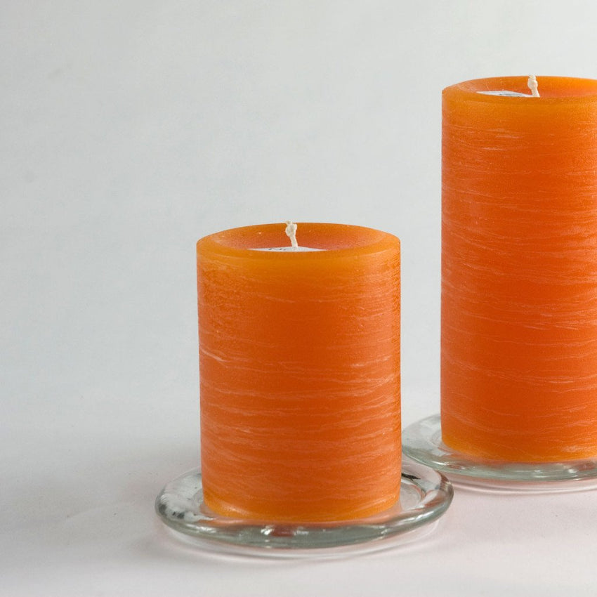 "Orange Rustic Pillar Candle 3x4"" by Nordic Candle image3"