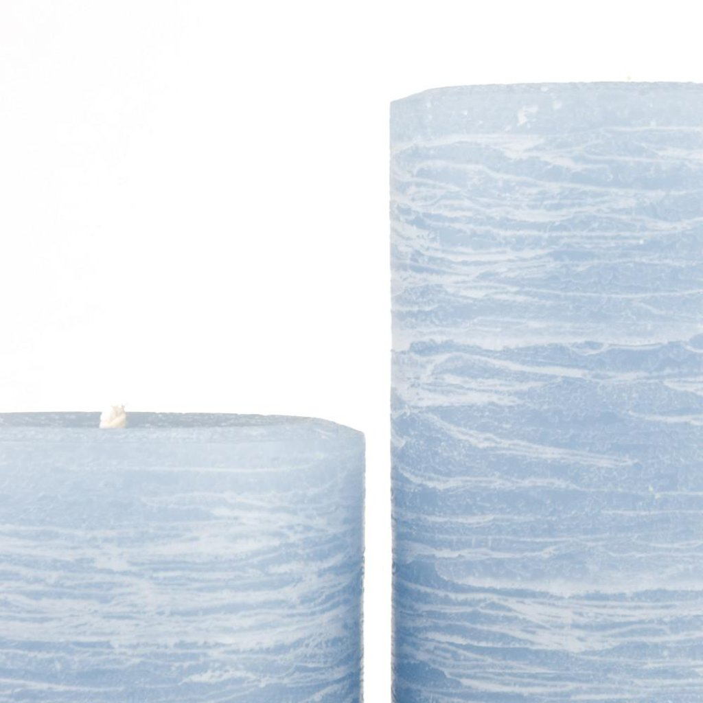 light blue pillar candle rustic candle available in various sizes 3x4 3x6 3x9 hand poured by Nordic Candle image1