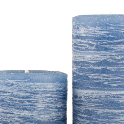 blue pillar candle rustic candle in denim blue available in sizes 3x4 3x6 3x9 4x6 4x9 hand poured artisan candles by Nordic Candle