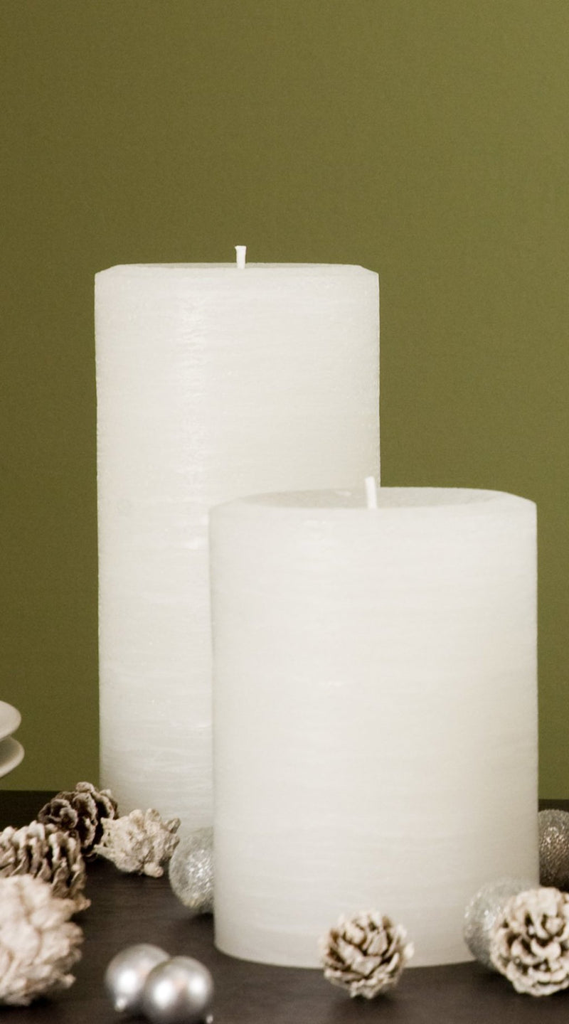 white pillar candle rustic candle available in sizes 3x4 3x6 3x9 4x6 4x9 hand poured artisan candles by Nordic Candle