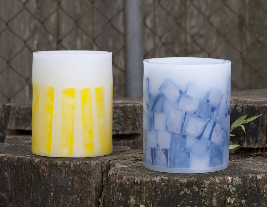 1 blue and 1 yellow lantern with mosaic design by Nordic Candle image3