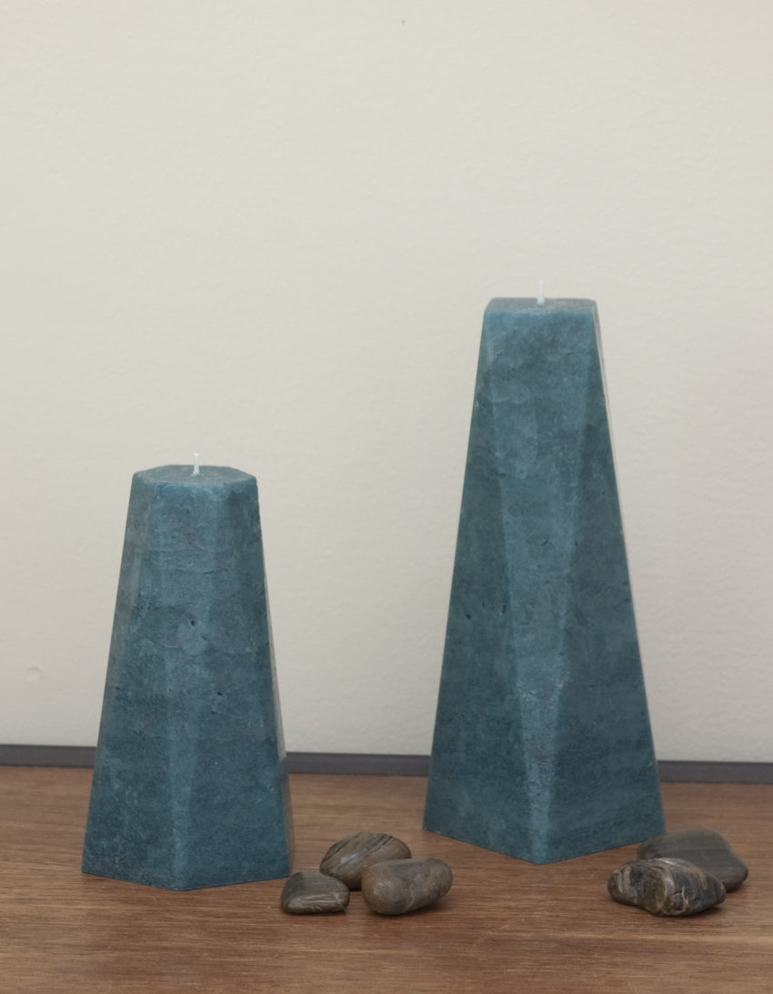 Set of Two Candles - Teal Hexagon and Octagon Pair of Pillars by Nordic Candle