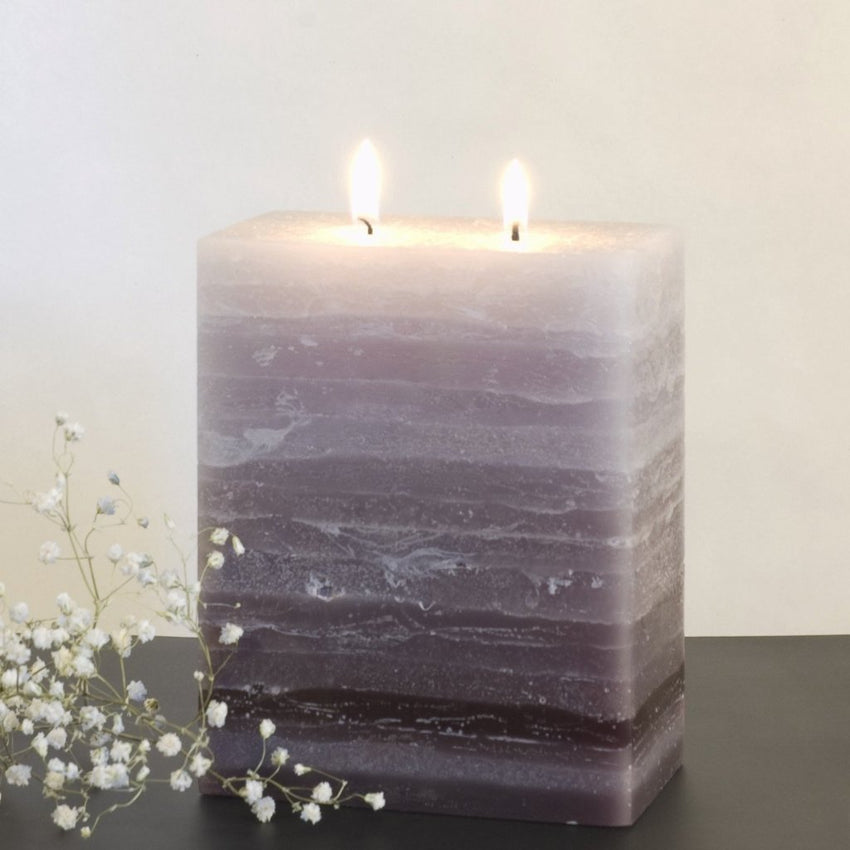 gray layered pillar candle two wick 50 Shades of Grey by Nordic Candle