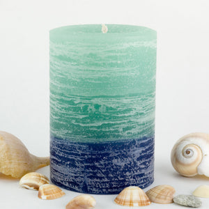 Light Green to Green to Blue candle 3x4
