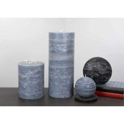 "Large Rustic Candle 5x6 and 5x12"" Pillar Candle Slate Blue Rustic Texture by Nordic Candle Img2"
