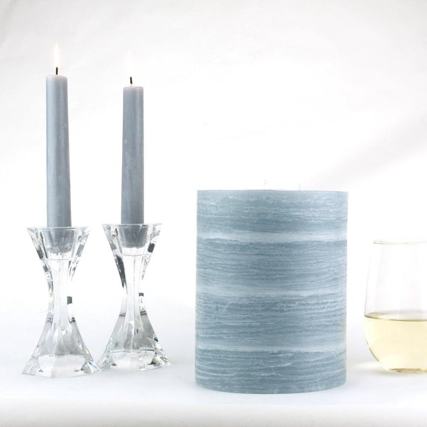 Blueish gray 3 wick pillar candle in 5 x 6 inch by Nordic Candle