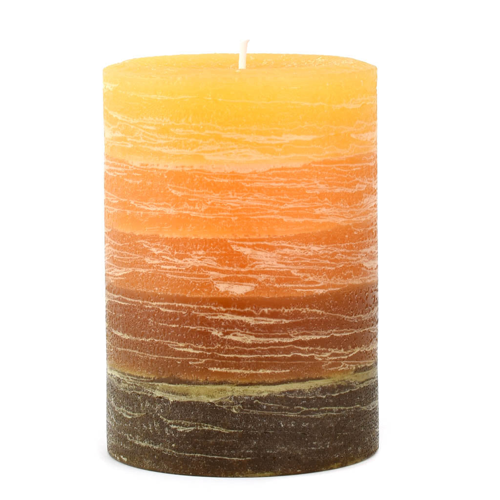 Orange to Brown Layered Pillar Candle available in 3x4 3x6 and 4x6 by Nordic Candle Img1 white background