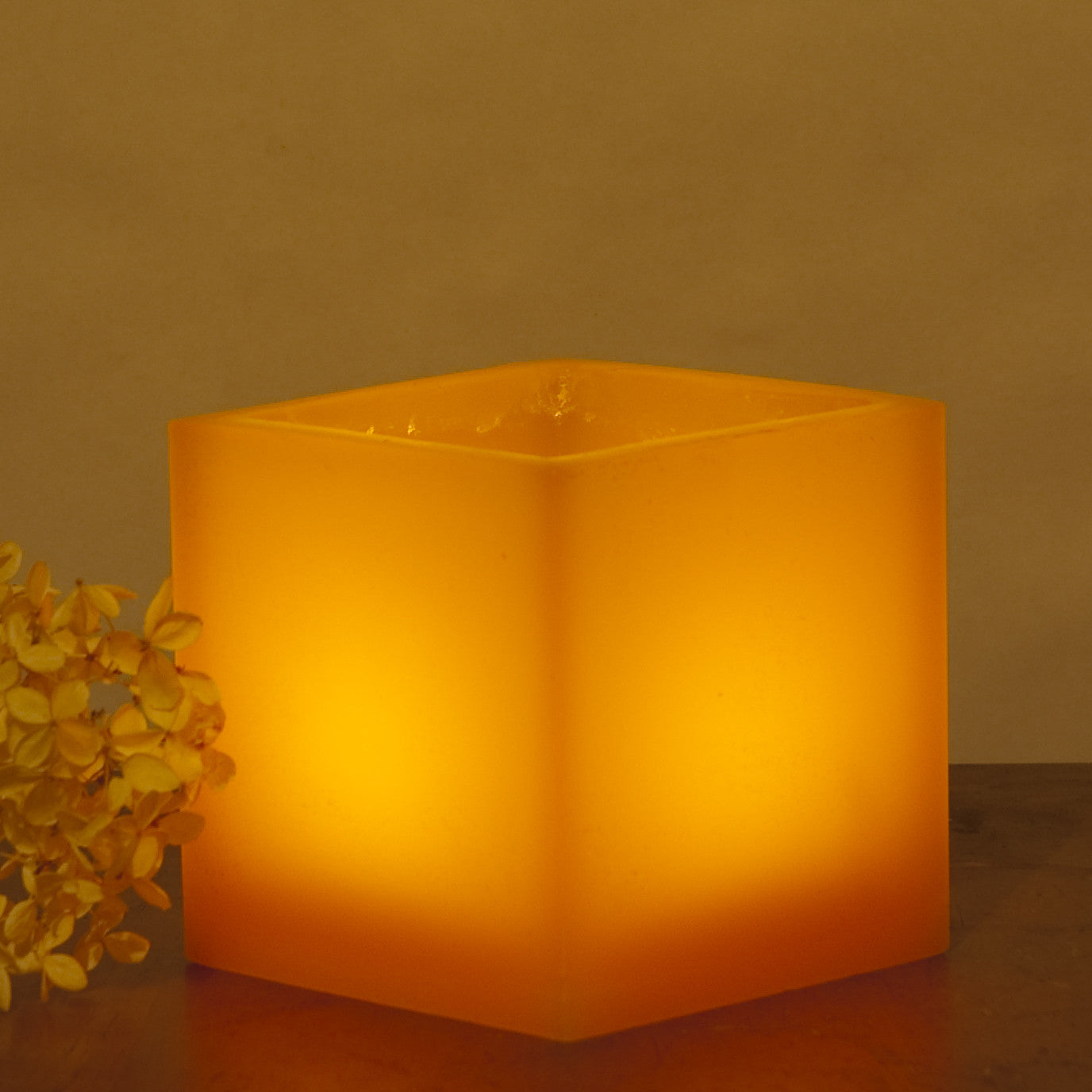 orange lantern made of wax lit with a votive or tea light size is 4 x 4 inches Nordic Candle