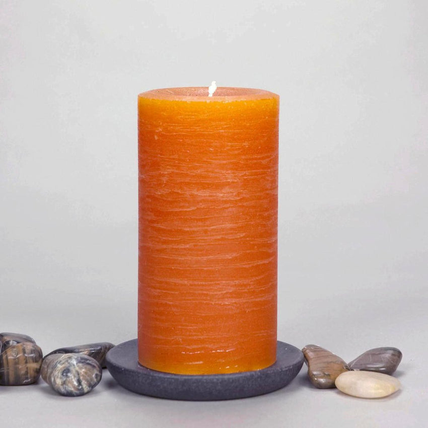 "Orange Rustic Pillar Candle 3x6"" Simple Design by Nordic Candle"