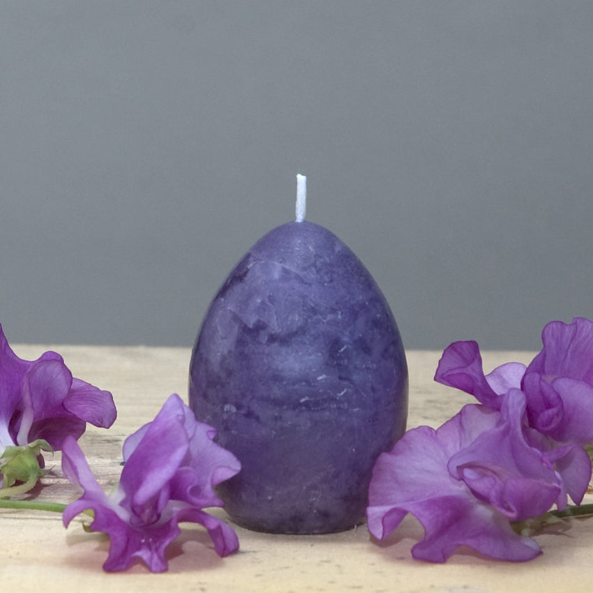 Purple egg candle for decorating for springtime or Easter by Nordic Candle