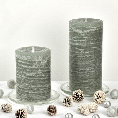 Sage Green Candle Rustic Pillar 3x4 3x6 shown by Nordic Candle Img2
