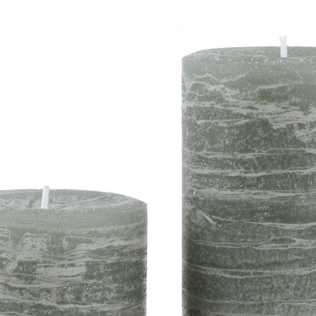 Sage Green Candle Rustic Pillar available in 3x4 3x6 3x9 4x6 and 4x9 by Nordic Candle