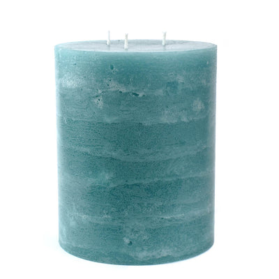 5x6 pillar candle teal aqua rustic texture 3 wick by Nordic Candle img1