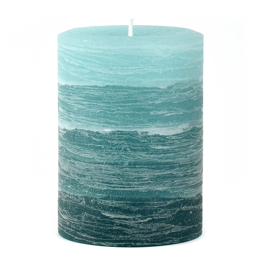 Teal Layered Pillar Candle available in 3x4 3x6 and 4x6 by Nordic Candle Img1