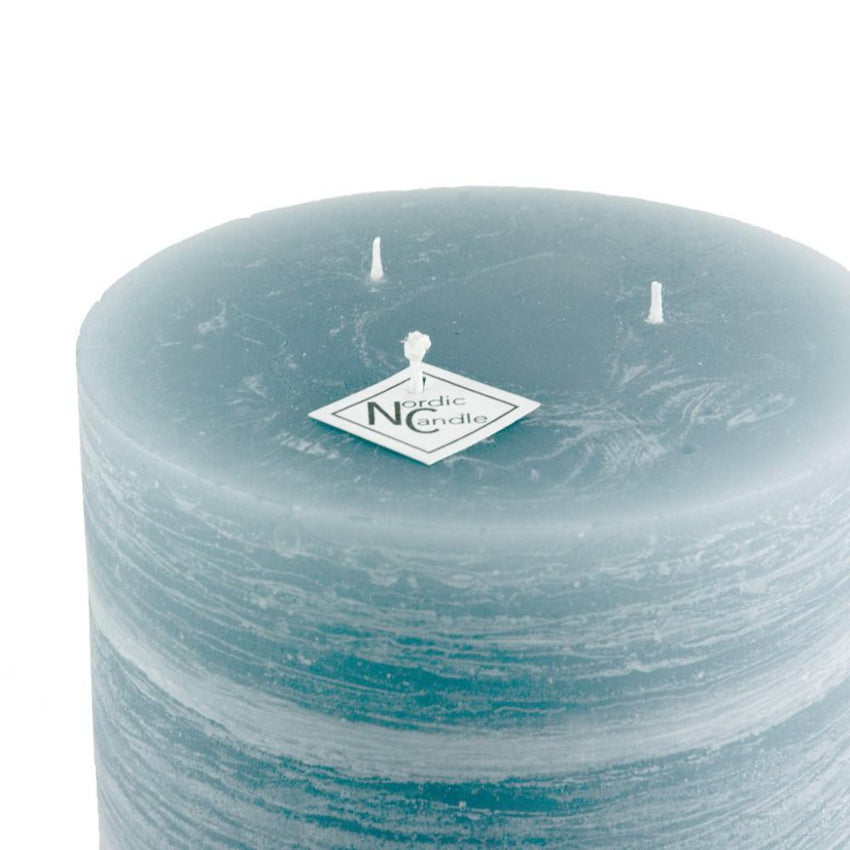 blue pillar candle rustic candle in the shade of storm gray has a hint of blue size 5 x 6 hand poured by Nordic Candle image1