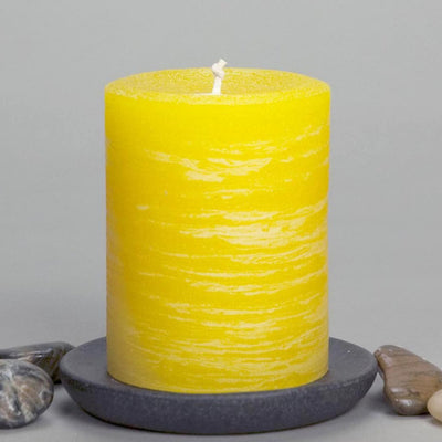 "Yellow Rustic Pillar Candle 3x4"" Simple Design by Nordic Candle"