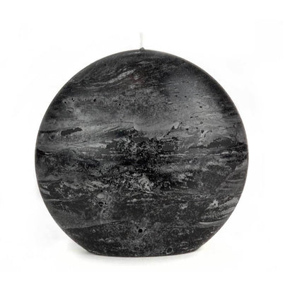 Black Pillar Candle Rustic Disc 5.75 inches wide 2.35 deep and 5.5 inches tall artisan handmade by Nordic Candle img2