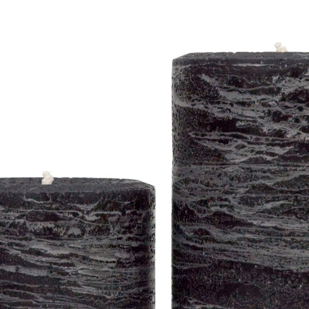 Black pillar candle rustic candle available in sizes 3x4 3x6 3x9 4x6 4x9 hand poured artisan candles by Nordic Candle