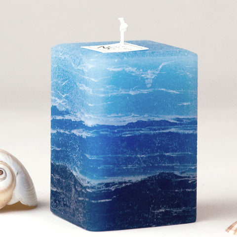 Blue Rustic Striped Candle - The William Candle