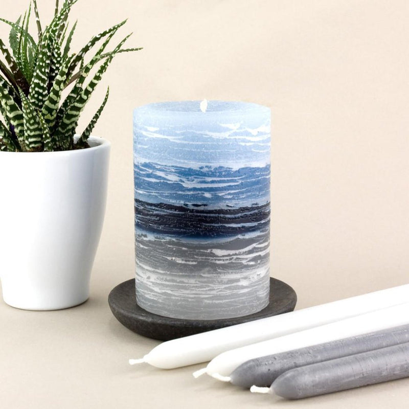 "light blue to dark blue to gray shades in 3x4"" candle by Nordic Candle"