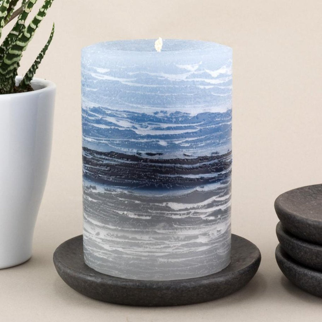 "Blue to Gray Layered Candle | Rustic 3x4"" 3x6"" or 4x6"""