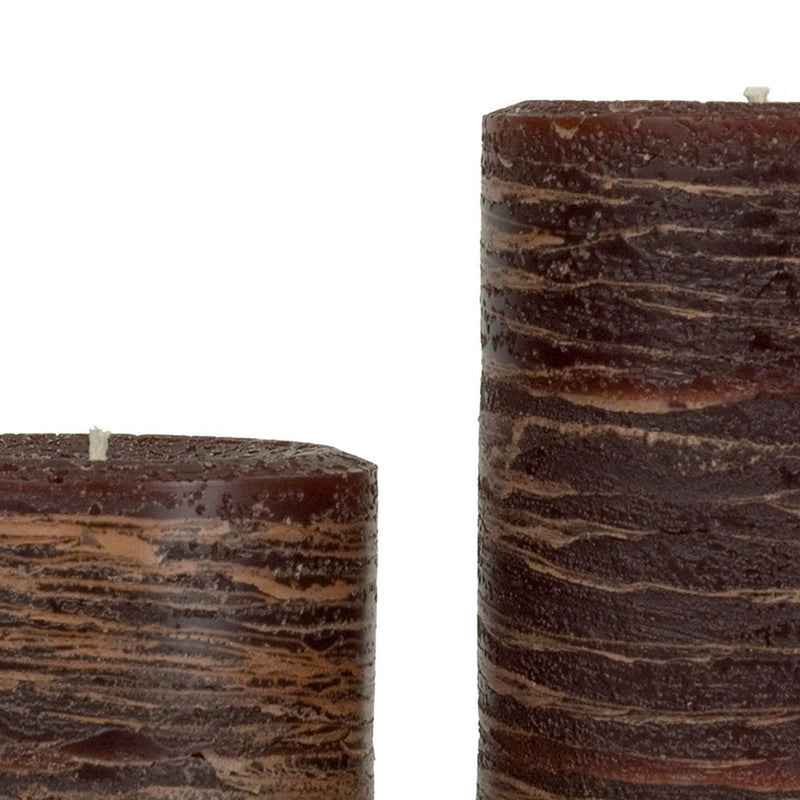 Brown Rustic Pillar Candle by Nordic Candle Img1 Close Up