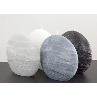 Disc Candles Group Blue Gray Black and White Rustic Texture 5.75 inches wide 2.35 deep and 5.5 inches tall Large Size artisan handmade by Nordic Candle