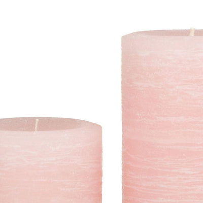 pale dogwood pink pillar candle rustic candle available in sizes 3x4 3x6 3x9 4x6 4x9 hand poured artisan candles by Nordic Candle