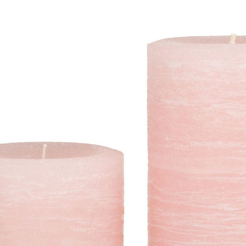 Pale Dogwood Pink Rustic Pillar Candle