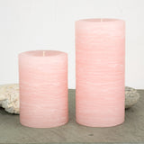 pink pillar candle rustic candle in pale dogwood pink available in sizes 3x4 3x6 3x9 4x6 4x9 hand poured artisan candles by Nordic Candle img2