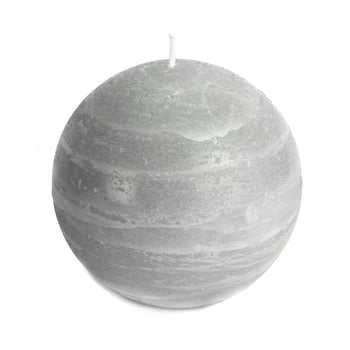 gray ball candle with a rustic texture surface 4 inch diameter by Nordic Candle white background img1