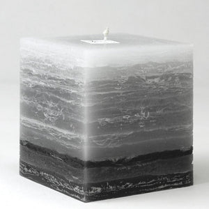 Gray Striped Pillar Candle with one black stripe 4