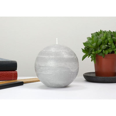 gray ball candle with a rustic texture surface 4 inch diameter by Nordic Candle img2