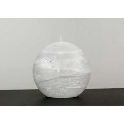 Gray Pillar Candle Rustic Disc 5.75 inches wide 2.35 deep and 5.5 inches tall artisan handmade by Nordic Candle Img2