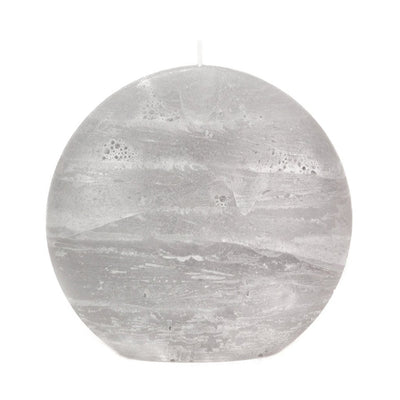 Gray Pillar Candle Rustic Disc 5.75 inches wide 2.35 deep and 5.5 inches tall artisan handmade by Nordic Candle