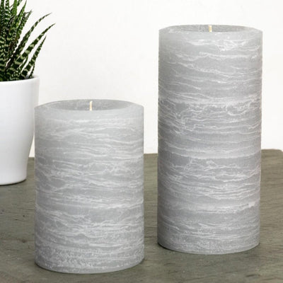 gray pillar candle rustic candle in dove gray available in sizes 3x4 3x6 3x9 4x6 4x9 hand poured artisan candles by Nordic Candle img3