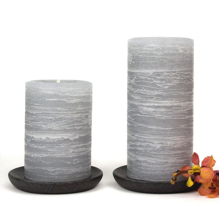 gray pillar candle rustic candle in dove gray available in sizes 3x4 3x6 3x9 4x6 4x9 hand poured artisan candles by Nordic Candle img2