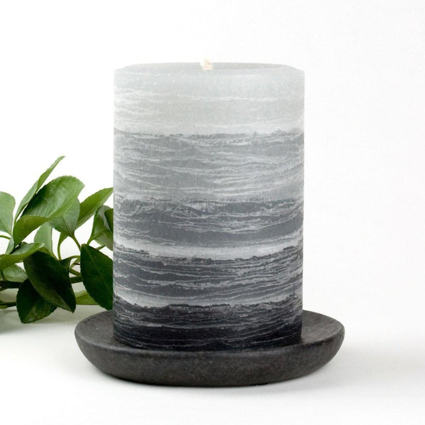 rustic gray pillar layered candle 3 x 4 inches by Nordic Candle image2