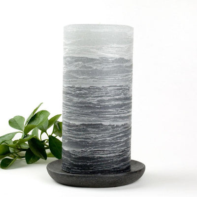 rustic gray pillar layered candle 3 x 6 inches by Nordic Candle image3