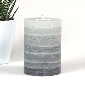 Gray Pillar Candle - Striped - Rustic - 3